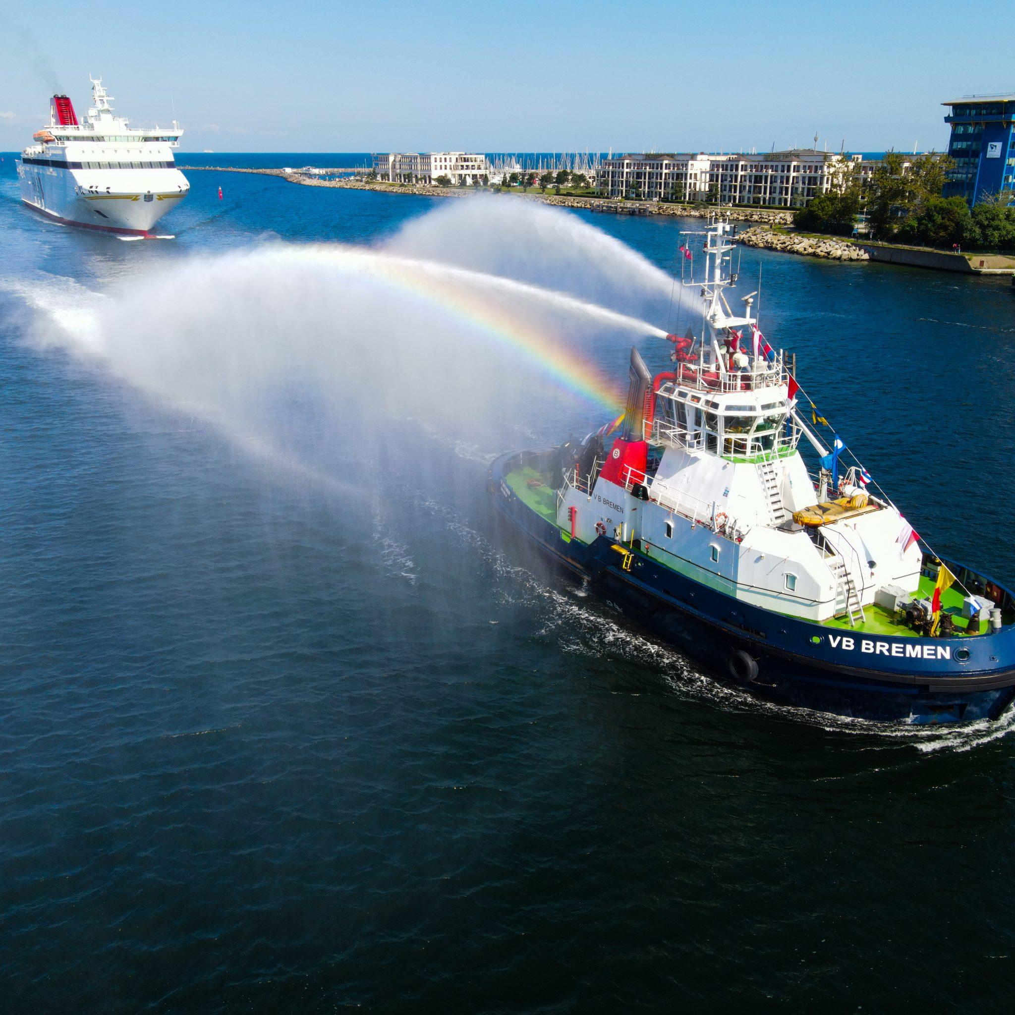 Sinds 1 september zit Boluda in Rostock, maar op 31 augustus werd het eerste schip al geholpen. (Foto Boluda Towage)