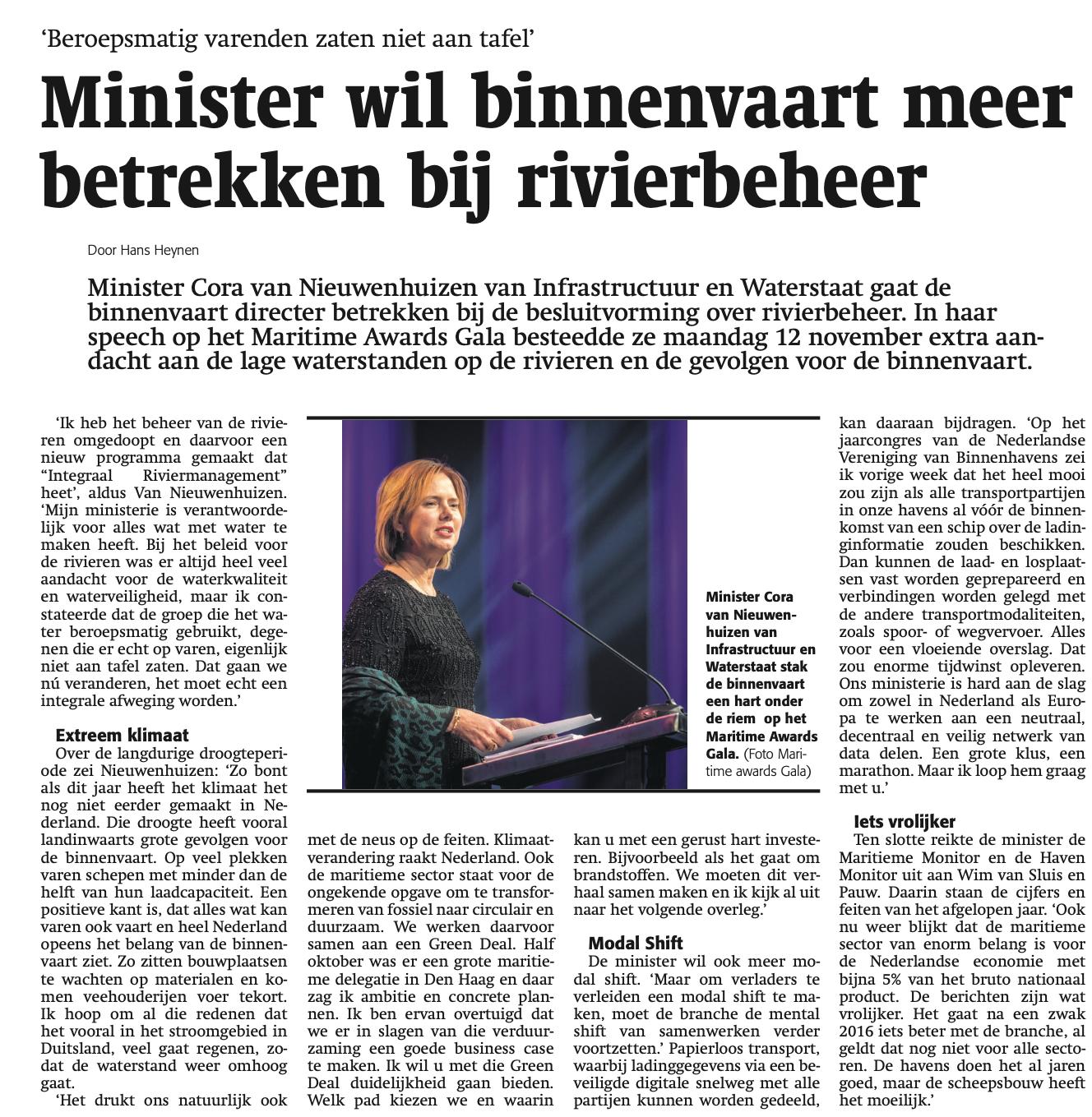 Cora van Nieuwenhuizen prijkte meer dan eens in de Schuttevaer. (Archief Schuttevaer)
