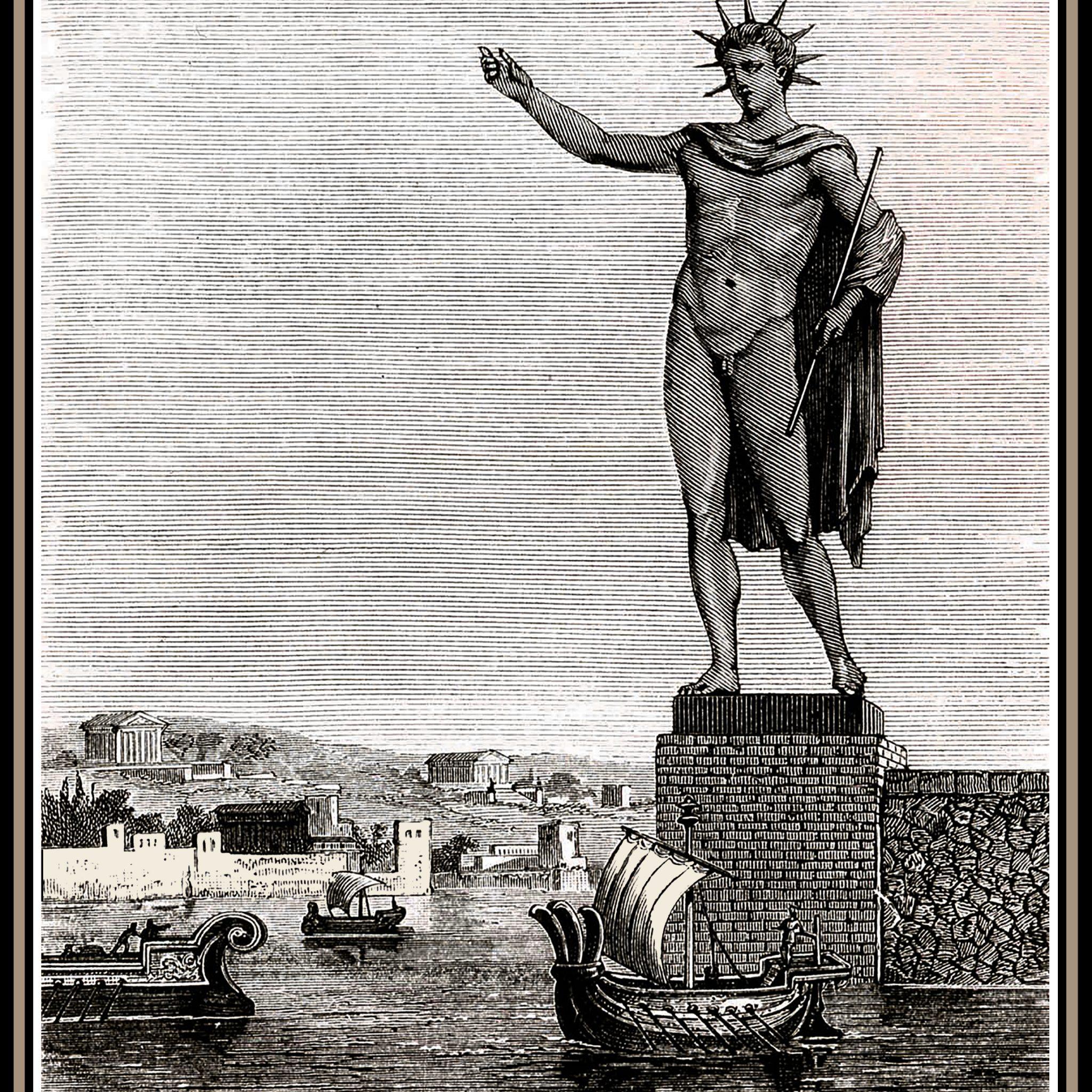 Niemand weet hoe de Kolos van Rhodos eruit heeft gezien. Deze afbeelding ervan berust dus op fantasie, net als de bekende interpretatie waarbij schepen tussen de gespreide benen doorvaren.