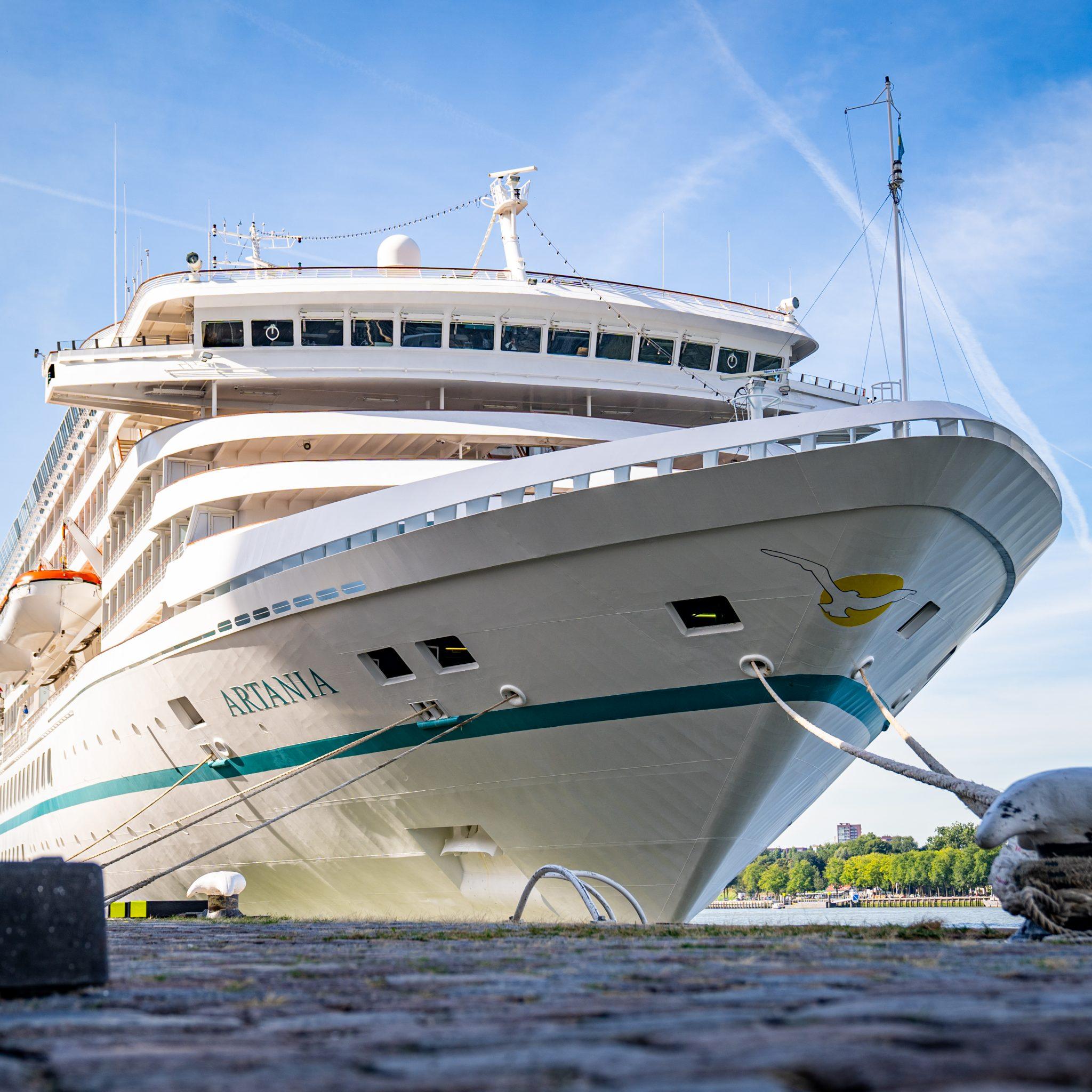 Het cruiseschip is inmiddels alweer vertrokken. (Foto MediaTV)