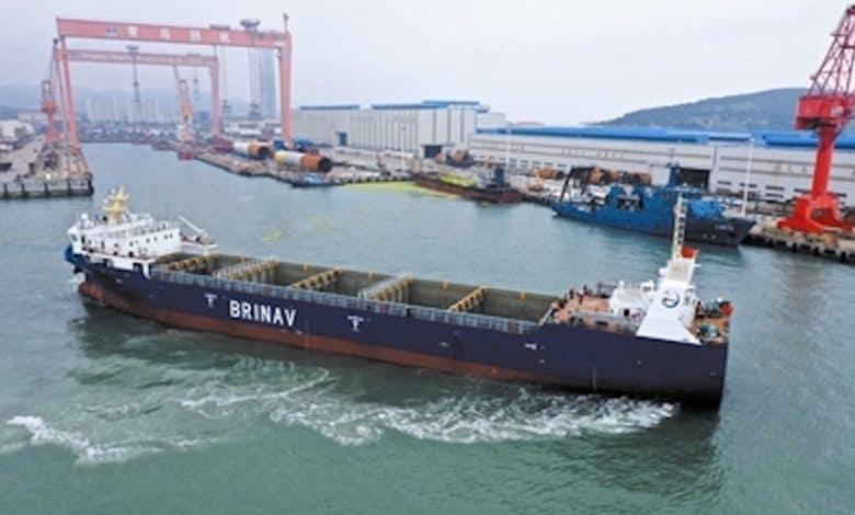 Het autonome containerschip Zhi Fei. (Foto Shandong Port Shipping Group)