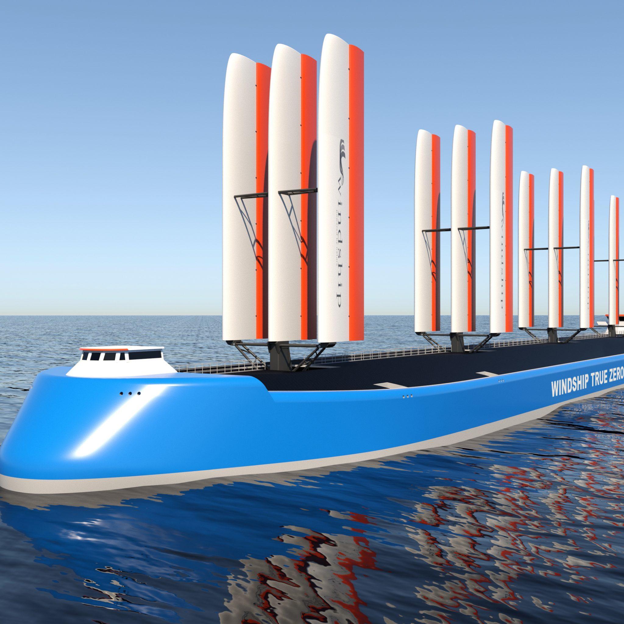 Het '3x3'-zeilsysteem bestaat uit drie masten met elk een framewerk van drie vaste zeilen. (Foto Windship Technology)