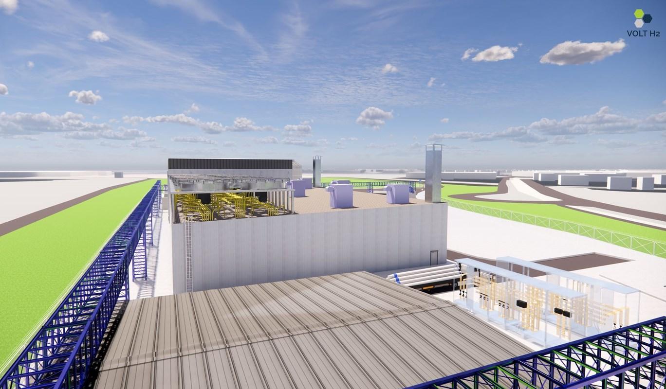 In Terneuzen wordt door Volt H2 deze waterstoffabriek gebouwd. (Foto North Sea Port)