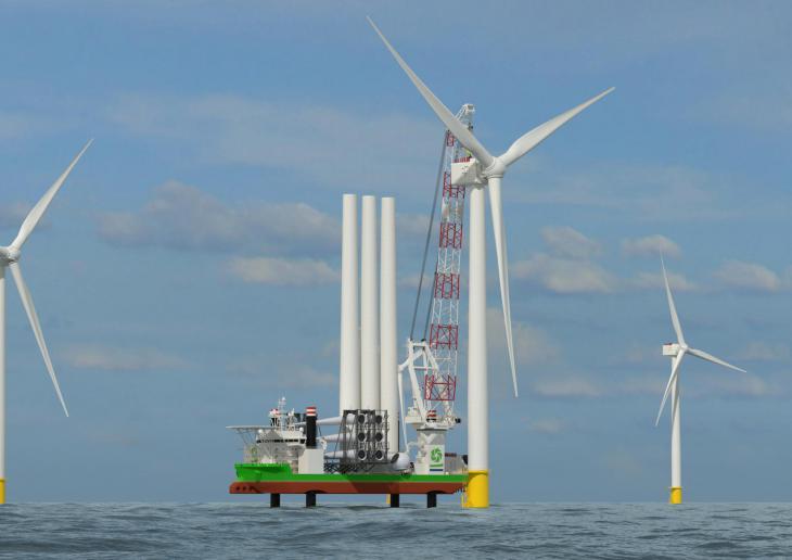 De Sea Installer wordt verbouwd om de schaalvergroting in de windturbinesec tor bij te kunnen houden. (Foto Deme)