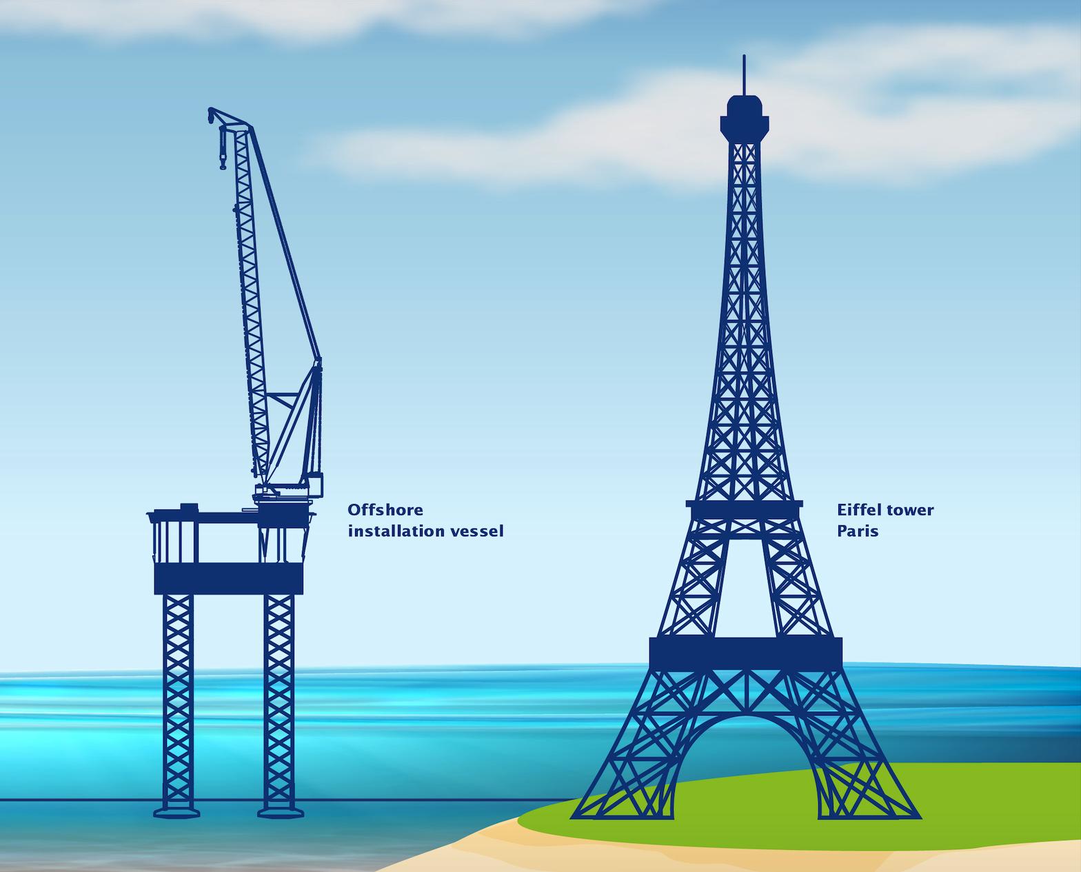 Het nieuwe schip naast de Eiffeltoren. (Foto Van Oord)